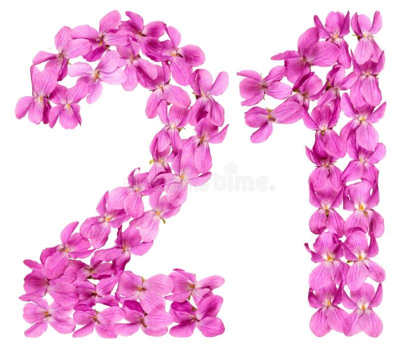 O numeral árabe 21, vinte uns, das flores da viola, isolou o fotos de stock
