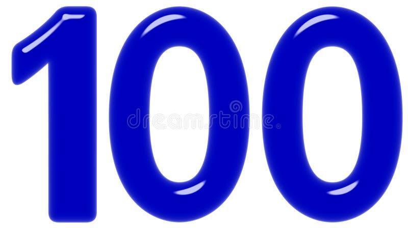 O numeral 100, cem, isolado no fundo branco, 3d rende fotos de stock