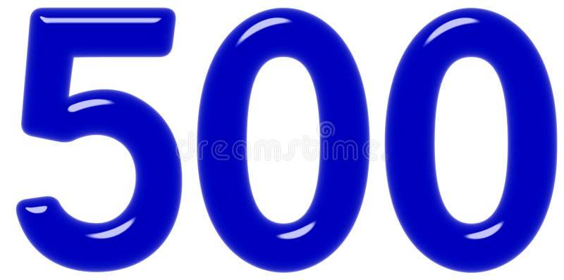 O numeral 500, cinco cem, isolado no fundo branco, 3d rende imagem de stock royalty free