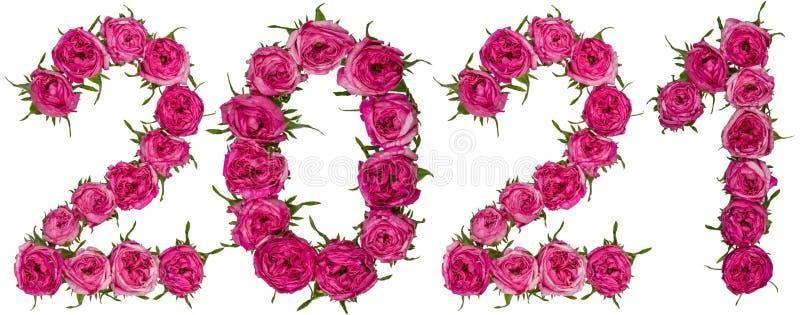 O numeral 2021 das flores vermelhas de aumentou, isolado no backgro branco imagem de stock