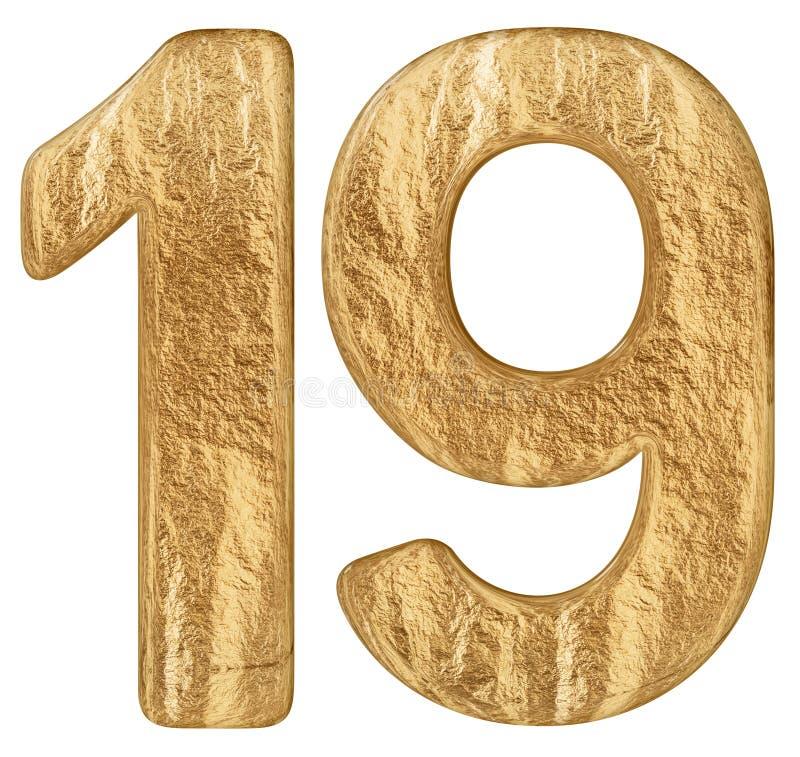 O numeral 19, dezenove, isolado no fundo branco, 3d rende ilustração do vetor