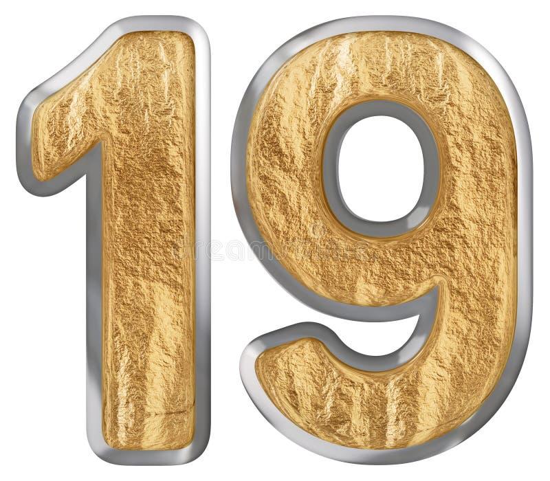 O numeral 19, dezenove, isolado no fundo branco, 3d rende ilustração royalty free
