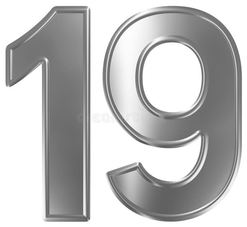 O numeral 19, dezenove, isolado no fundo branco, 3d rende ilustração stock