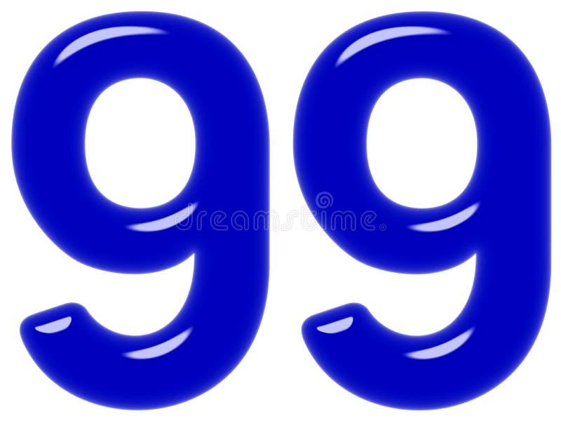 O numeral 99, nove noventas, isolado no fundo branco, 3d rende foto de stock royalty free