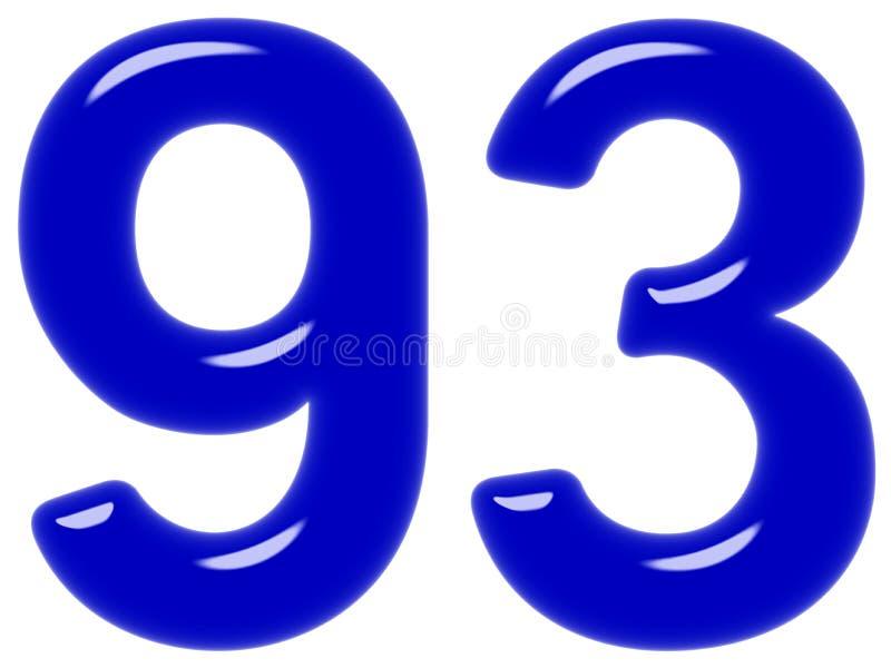 O numeral 93, noventa três, isolada no fundo branco, 3d rende fotografia de stock