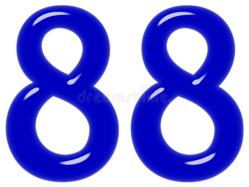 O numeral 88, oitenta e oito, isolado no fundo branco, 3d rende fotos de stock royalty free