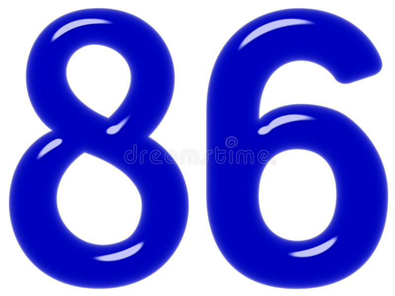 O numeral 86, oitenta e seis isolado no fundo branco, 3d rende fotos de stock royalty free