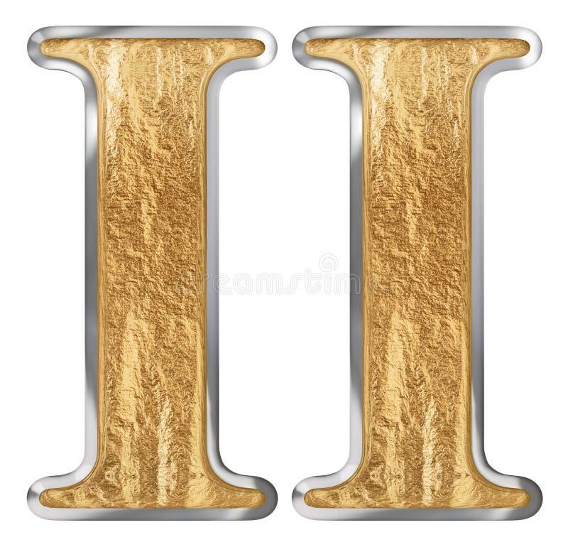 O numeral romano II, duo, 2, dois, isolados no fundo branco, 3d rende ilustração do vetor