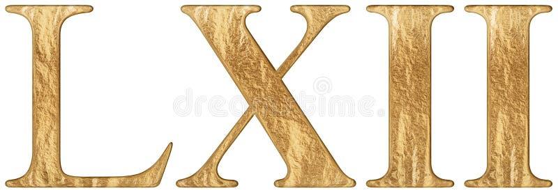 O numeral romano LXII, o duo e o sexaginta, 62, sessenta e dois, isolado no fundo branco, 3d rendem ilustração royalty free