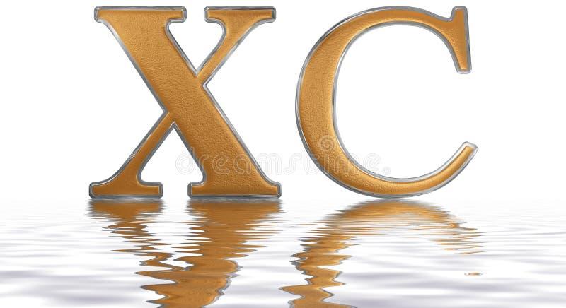 O numeral romano XC, nonaginta, 90, noventa, refletiu na água ilustração do vetor
