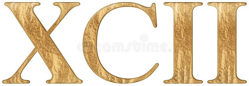 O numeral romano XCII, o duo e o nonaginta, 92, dois noventas, isolados no fundo branco, 3d rendem ilustração do vetor