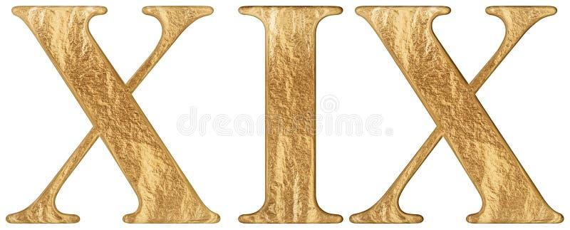 O numeral romano XIX, undeviginti, 19, dezenove, isolado no fundo branco, 3d rende ilustração stock