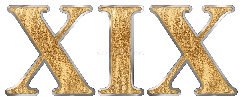 O numeral romano XIX, undeviginti, 19, dezenove, isolado no fundo branco, 3d rende ilustração do vetor