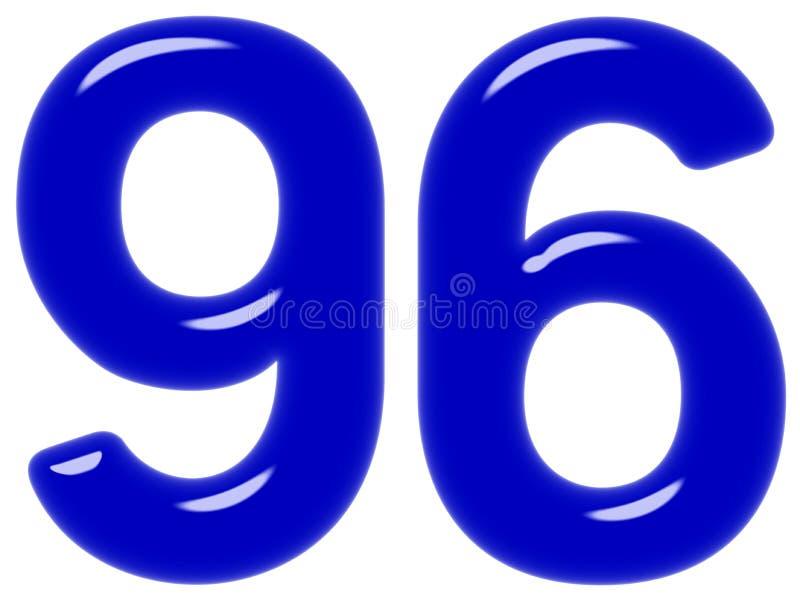 O numeral 96, seis noventa, isolado no fundo branco, 3d rende imagem de stock