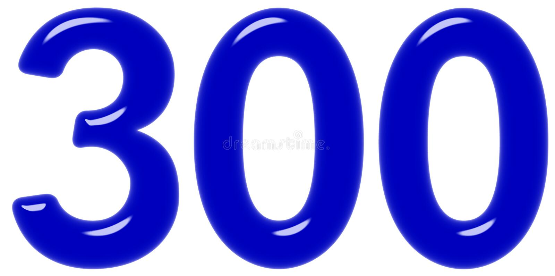 O numeral 300, três cem, isolado no fundo branco, 3d rende foto de stock royalty free