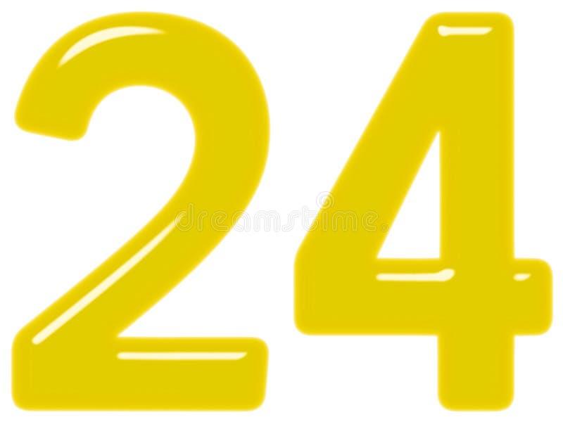 O numeral 24, vinte quatro, isolado no fundo branco, 3d rende ilustração do vetor