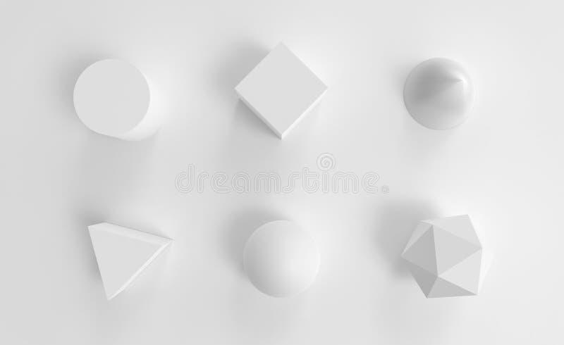 O objeto abstrato branco da geometria ajustou o fundo 3d imagens de stock