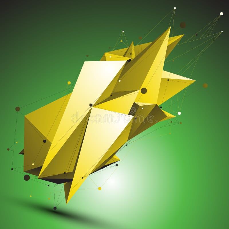 O objeto assimétrico abstrato do vetor do ouro com linhas engrena sobre o gree ilustração stock
