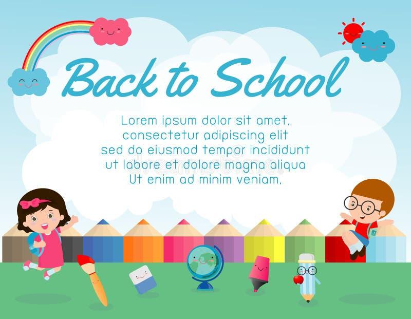O objeto da educação sobre de volta ao fundo da escola, de volta à escola, caçoa o salto, conceito da educação, molde para o folh ilustração do vetor