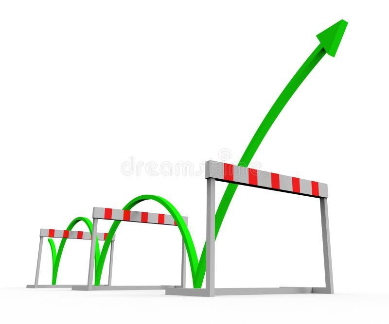 O obstáculo superado indica a conquista da adversidade e do desafio ilustração royalty free