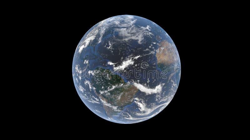 O Oceano Atlântico entre Ámérica do Sul e África atrás de uma camada de nuvens na bola da terra, um globo isolado, 3D rendição, e ilustração stock
