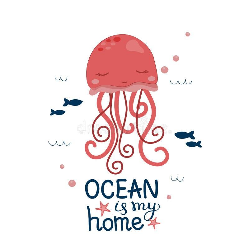 O oceano das medusa é minha casa ilustração stock