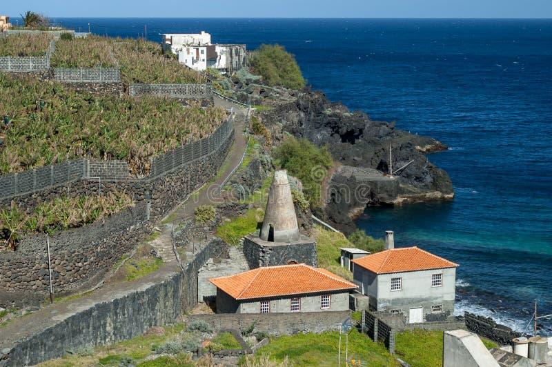 O oceano e a banana cultivam, La Palma, Ilhas Canárias fotografia de stock royalty free