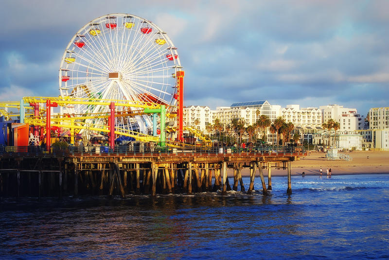 O Oceano Pacífico. Cais de Santa Monica. foto de stock royalty free