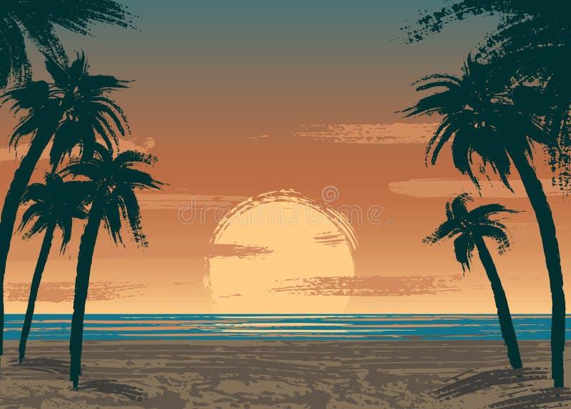 O oceano Sunset ilustração royalty free