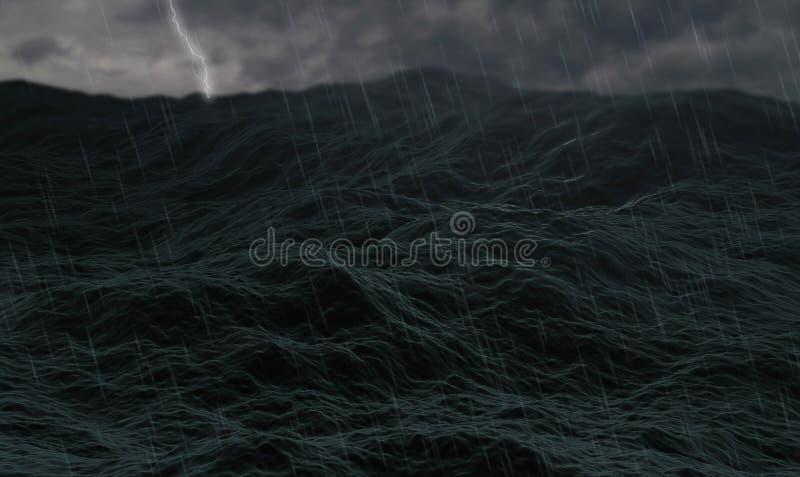 O oceano tormentoso, as ondas no mar áspero ou a água tormentoso do oceano, com trovejam e relâmpagos e nebuloso fotografia de stock