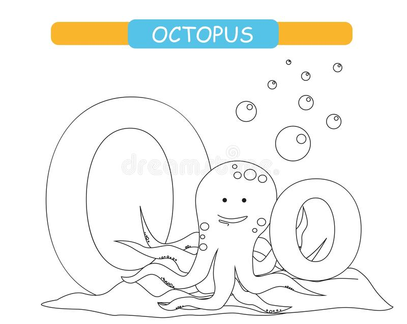 Letter O and funny cartoon octopus. Coloring page. Animals alphabet a-z. Cute zoo alphabet in vector for kids learning English voc vector illustration