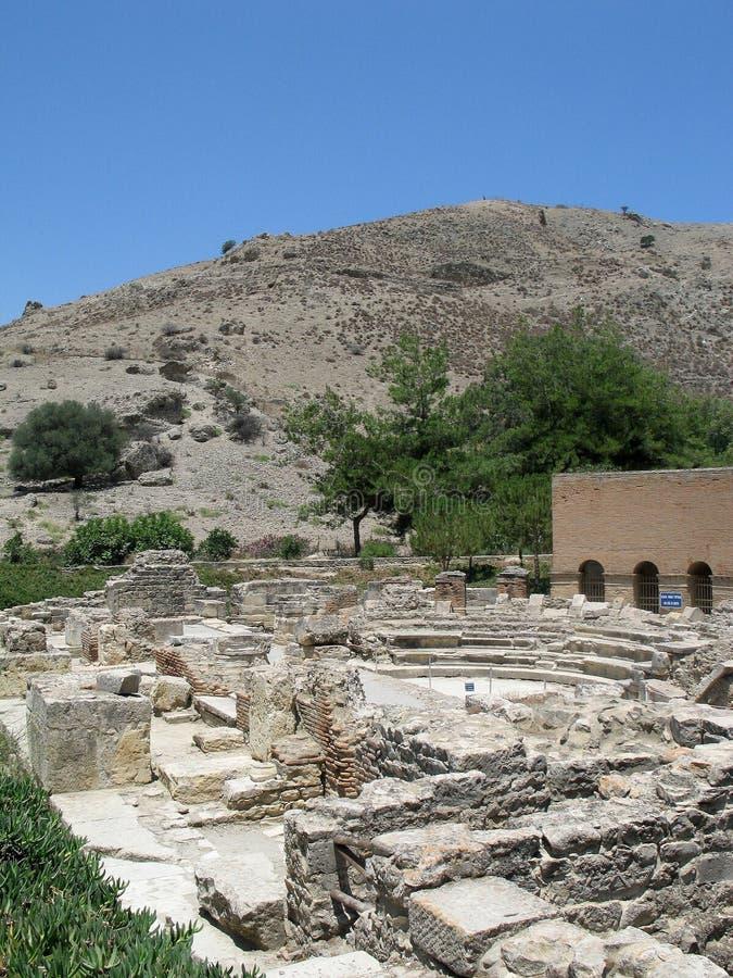 O Odeon de Gortys, Crete foto de stock