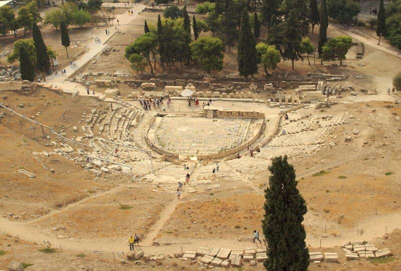 O Odeon do Atticus de Herodes é uma estrutura de pedra do teatro situada na inclinação sul, Atenas foto de stock royalty free