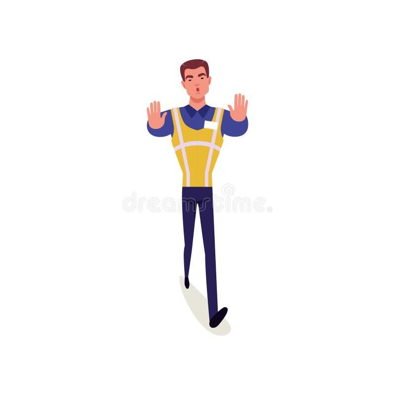 O oficial da polícia de trânsito no uniforme com posição alta da veste da visibilidade e a exibição param o gesto de mão, polícia ilustração royalty free