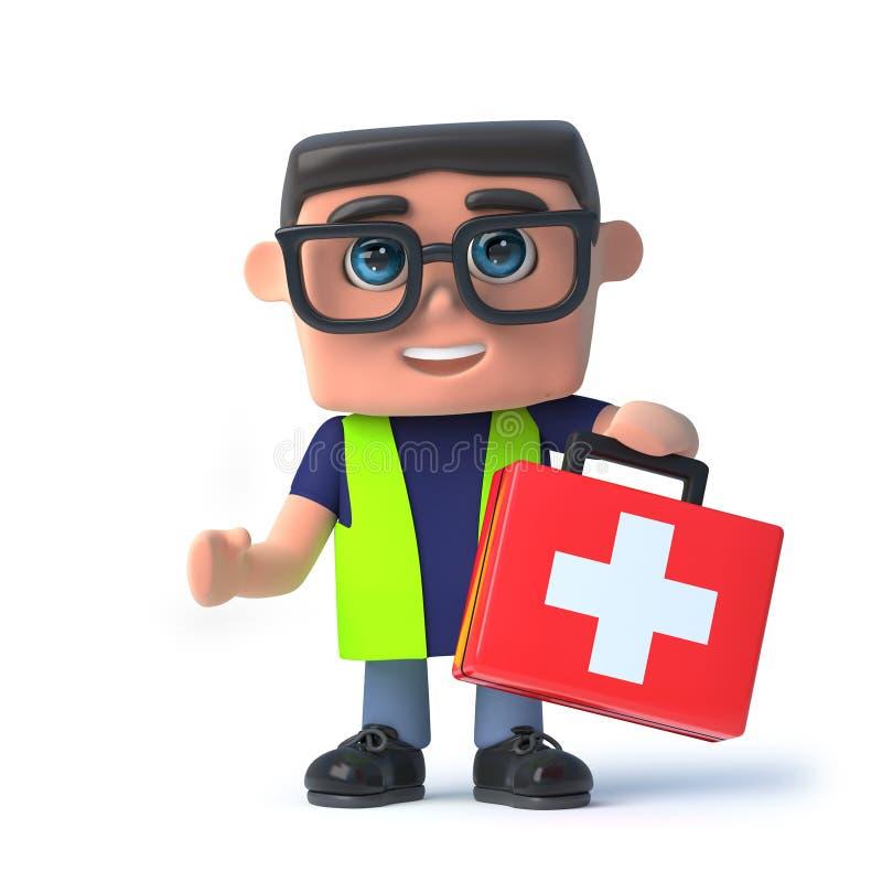 o oficial de saúde 3d e de segurança leva um kit de primeiros socorros ilustração royalty free