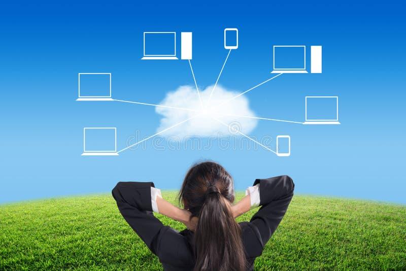 O olhar da mulher de negócios ao céu azul e a nuvem com ícone nublam-se o fundo da rede fotografia de stock royalty free
