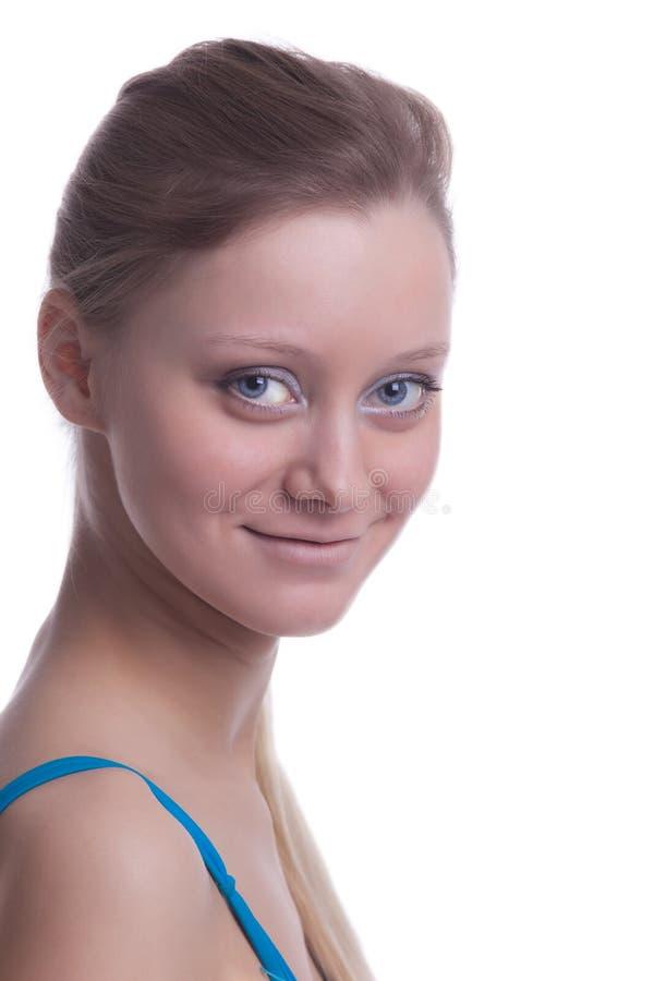 O olhar louro da menina da beleza em você fecha-se acima fotografia de stock royalty free
