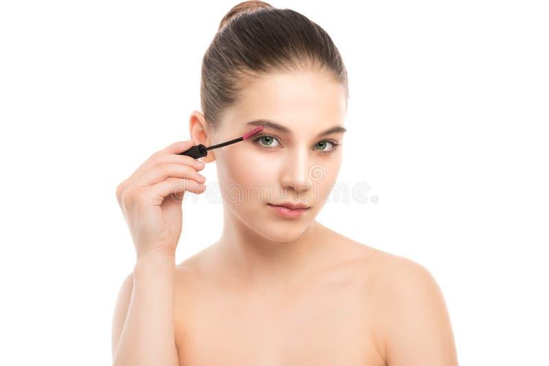 O olho compõe para aplicar-se Rímel que aplica o close up, chicotes longos Escova da composição Isolado imagem de stock