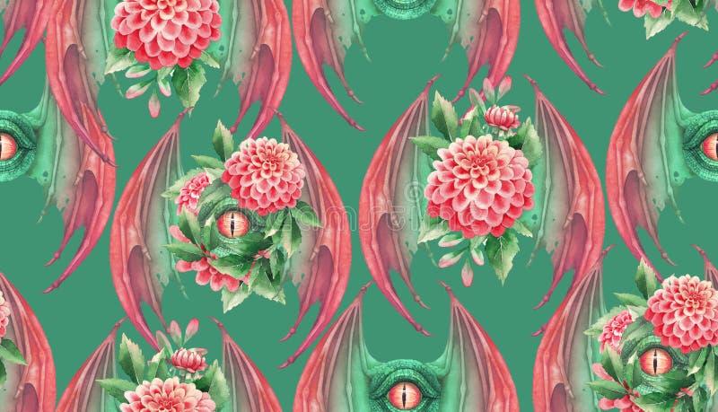 O olho do drag?o de voo com metade abriu perucas e decora??es florais ilustração royalty free