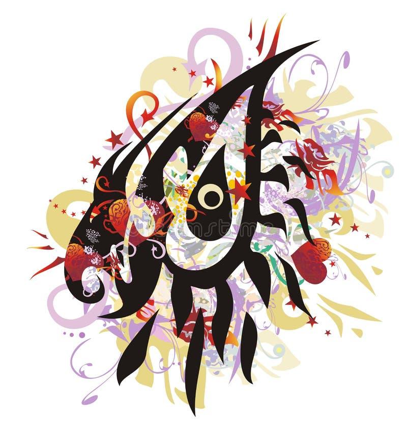 O olho do dragão espirra com os corações vermelhos ilustração royalty free