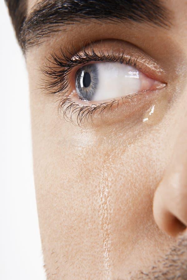 O olho do homem com rasgos foto de stock royalty free