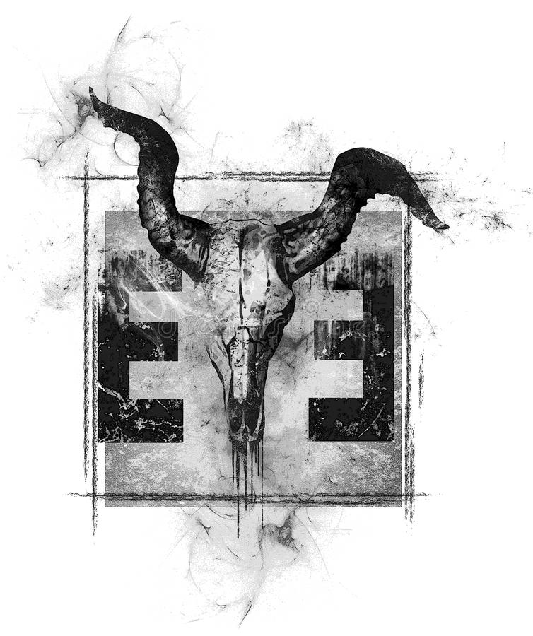 O olho do projeto do crânio do touro do illuminati imagem de stock