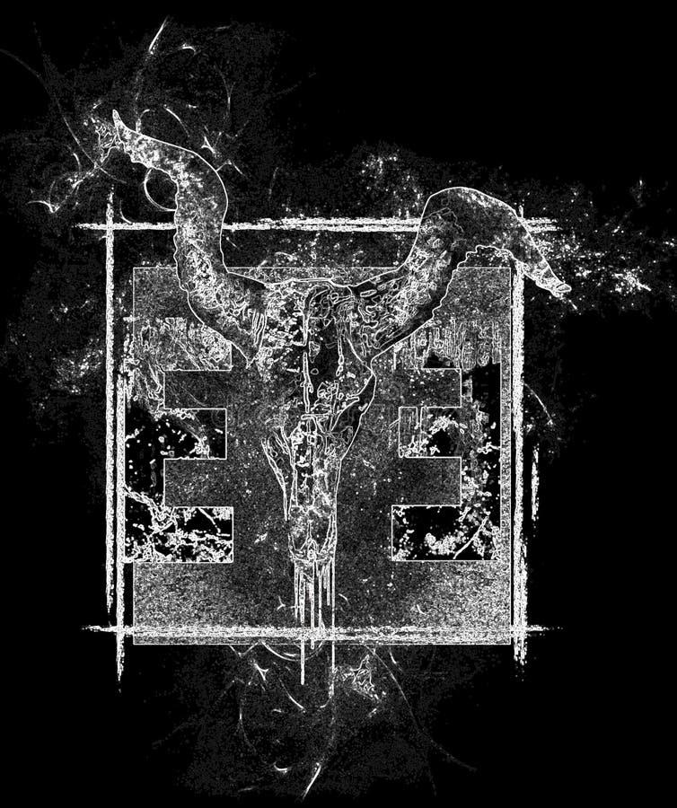 O olho do projeto do crânio do touro do illuminati invertido no fundo quadrado abstrato imagens de stock royalty free