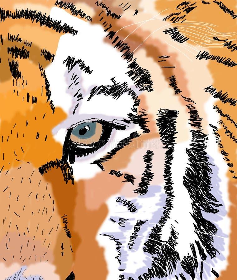 O olho do tigre - arte de Digitas ilustração do vetor