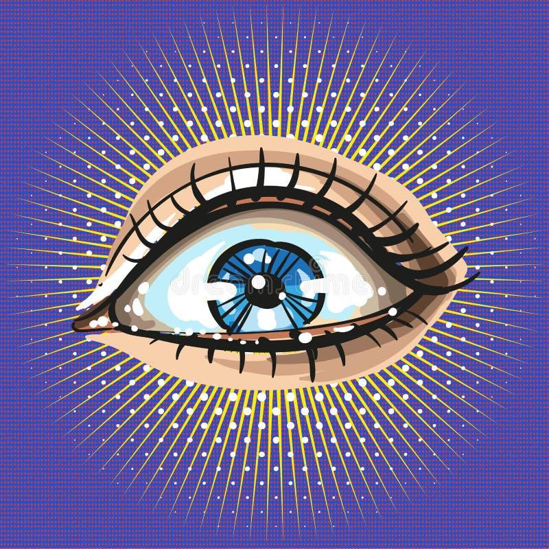 O olho fêmea bonito com compõe o estilo retro do vintage do pop art com os raios e os pontos ilustração royalty free