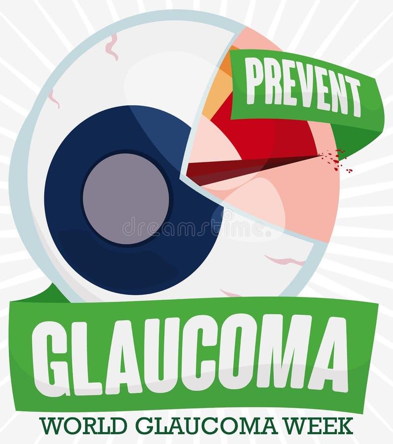O olho gosta do manômetro com semana de promoção de alta pressão da glaucoma do mundo, ilustração do vetor ilustração do vetor