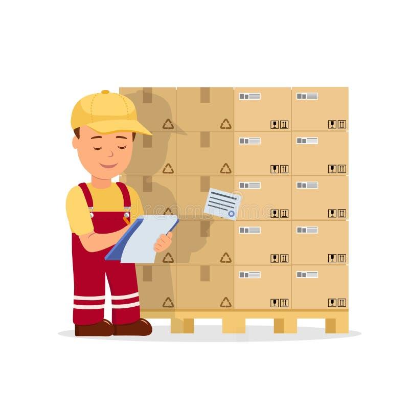 O operador do homem dos desenhos animados mantém registros a carga que guarda a prancheta Trabalhador do armazém que verifica ben ilustração do vetor