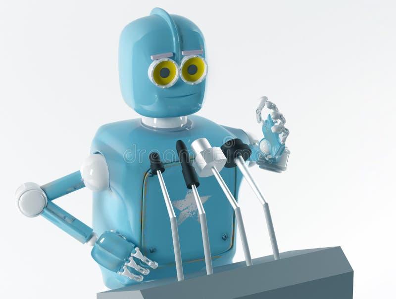 O orador retro do robô, orador, 3d, rende ilustração do vetor