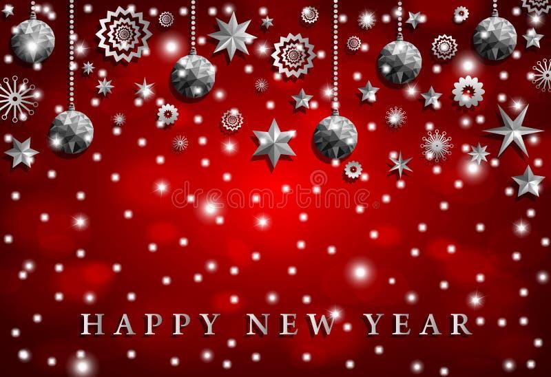 O origâmi denomina brinquedos de prata brilhantes do Natal com estrelas e flocos de neve ilustração do vetor