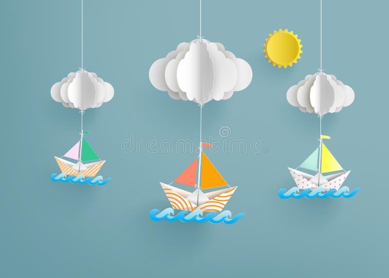 O origâmi fez o barco de navigação de papel colorido ilustração stock